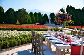 A catered birthday lunch is set up in the Italian-style garden, Jardines de México